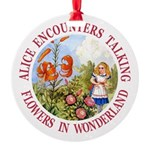 Alice Encounters Talking Flowers Round Ornament