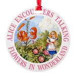 Alice Talking Flowers_PINK copy Round Ornament