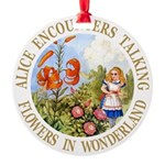 Alice Talking Flowers_GOLD copy Round Ornament