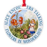 Alice Talking Flowers_BLUE copy Round Ornament