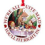 ALICE_ Were all Mad_RED copy Round Ornament