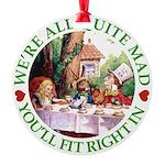 ALICE_ Were all Mad_GREEN copy Round Ornament
