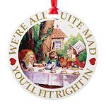 ALICE_ Were all Mad_GOLD copy Round Ornament