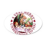 ALICE MAD HATTER unbirthday hrt RED copy Oval