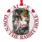 ALICE DOWN THE RABBIT HOLE_RED copy Round Orna