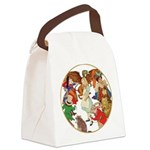 A round alice-white Canvas Lunch Bag