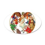 A round alice-white Oval Car Magnet