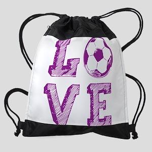 Girly Love Soccer Drawstring Bag
