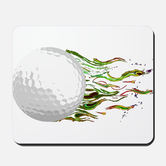 Flaming Golf Ball Club PGA Masters Mousepad