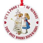 ALICE_POOR MEMORY_RED copy Round Ornament