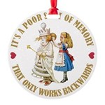 ALICE_POOR MEMORY_GOLD copy Round Ornament