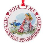 ALICE_follow me MJ RED 2 copy Round Ornament