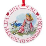 ALICE_follow me MJ PINK 2 copy Round Ornament