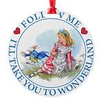 ALICE_follow me MJ BLUE 2 copy Round Ornament