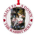 ALICE_DOWN THE RABBIT HOLE_RED Round Ornament