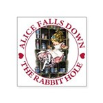 ALICE_DOWN THE RABBIT HOLE_RED Square Sticker