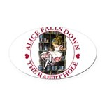 ALICE_DOWN THE RABBIT HOLE_RED Oval Car Magnet