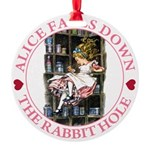 ALICE_DOWN THE RABBIT HOLE_PINK Round Ornament
