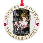 ALICE_DOWN THE RABBIT HOLE_GOLD Round Ornament