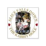ALICE_DOWN THE RABBIT HOLE_GOLD Square Sticker