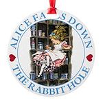 ALICE_DOWN THE RABBIT HOLE_BLUE Round Ornament