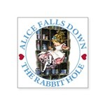 ALICE_DOWN THE RABBIT HOLE_BLUE Square Sticker