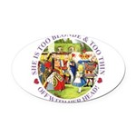 alice too thin_purple copy Oval Car Magnet