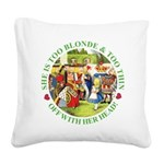 alice too thin_GREEN copy Square Canvas Pillow