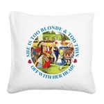 alice too thin_blue copy Square Canvas Pillow