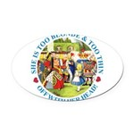 alice too thin_blue copy Oval Car Magnet