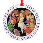 ALICE_CRAZY_PURPLE copy Round Ornament