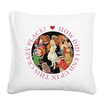 ALICE_CRAZY_PINK copy Square Canvas Pillow