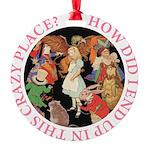ALICE_CRAZY_PINK copy Round Ornament