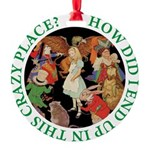 ALICE_CRAZY_GREEN copy Round Ornament
