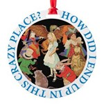 ALICE_CRAZY_BLUE copy Round Ornament