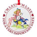 alice RABBIT im lateMA_RED copy Round Ornament