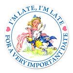alice RABBIT im lateMA_BLUE copy Round Car Mag