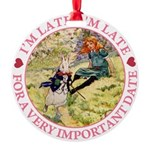 alice RABBIT im late_pink copy Round Ornament