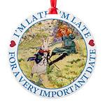 alice RABBIT im late_blue copy Round Ornament