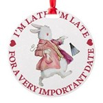 alice RABBIT im late red copy Round Ornament