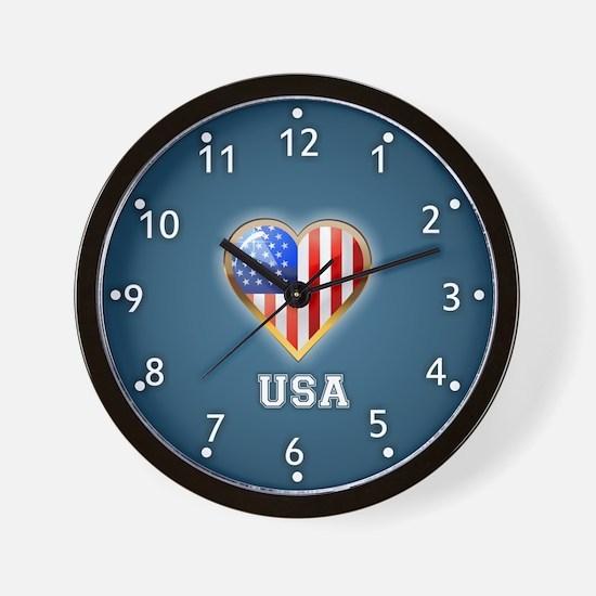 Heart Shaped US Flag - Wall Clock