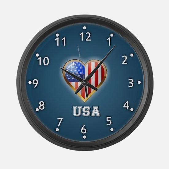 Heart Shaped US Flag Large Wall Clock