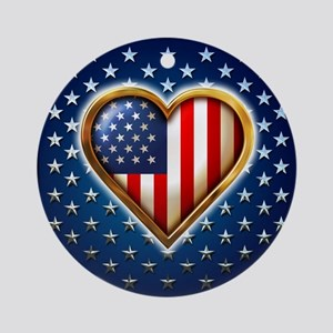 Heart Shaped US Flag Ornament (Round)