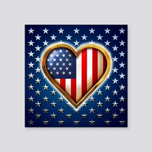 "USA Heart Shaped Flag Square Sticker 3"" x 3&a"