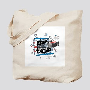 Hockey Puck Break Through Tote Bag