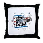Hockey Puck Break Through Throw Pillow