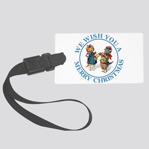 Christmas Cats 5 Blue copy Large Luggage Tag