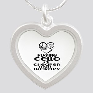 Cello Is Cheaper Than Therap Silver Heart Necklace