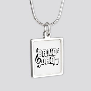 Band Dad Silver Square Necklace