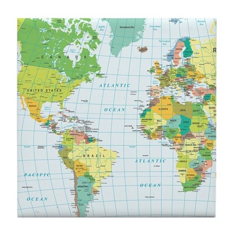 World Map Americas Africa Europe Tile Coaster By Admin Cp119312604